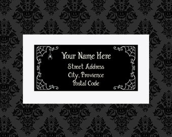 Custom Spiderweb Return Address label tags 8X6 Sticker Sheet Stickers Witchy Gothic gifts wrapping goth horror occult Ouija stationary