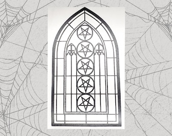 Church of Satan Stained Glass Permanent Vinyl Decal || Gothic Home Decor Halloween Decoration Witch Pentagram Car Accessories Bumper Sticker