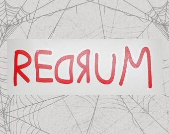 REDRUM / MURDER Permanent Vinyl Decal || Gothic Home Decor Halloween Decoration Witch Pentagram Car Accessories Bumper Sticker