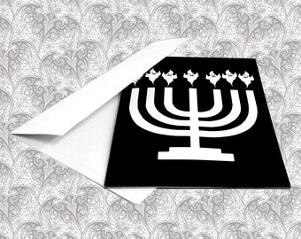 Ghost Menorah Gothic Hanukkah Greeting Card || Birthday Holiday Anniversary Goth Occasion Dark Love Creepy Gift Cursed Card Menorah