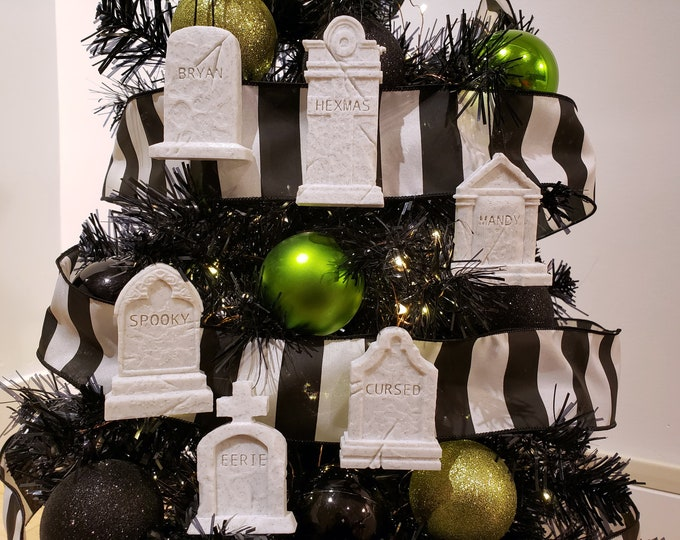 Featured listing image: Custom Tombstone Christmas Ornaments || gothic goth headstone Graveyard personalized home decor spooky tombstone Xmas Tree