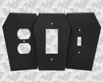 Coffin Light Switch Cover || Gothic Home Decor Goth Lightswitch Wall Plate Outlet Accessory Single Dual Toggle Rocker Duplex || 3D Printed