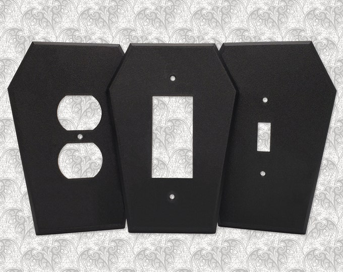 Featured listing image: Coffin Light Switch Cover || Gothic Home Decor Goth Lightswitch Wall Plate Outlet Accessory Single Dual Toggle Rocker Duplex || 3D Printed