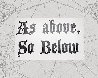As Above, So Below Permanent Vinyl Decal || Gothic Home Decor Halloween Decoration Witch Moon Pentagram Sticker Goth Symbols