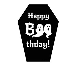 Happy BOOthday Coffin Greeting Card