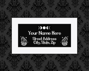 Custom Crystal Return Address label tags 8X6 Sticker Sheet Stickers Witchy Gothic gifts wrapping goth horror occult Ouija stationary