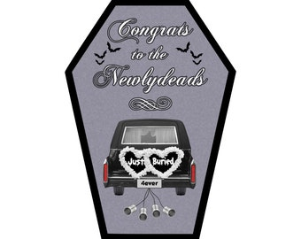 Congrats to the Newlydeads Wedding Engagement Greeting Card ||  Anniversary, Birthday, Goth, Gothic, Love Coffin Card