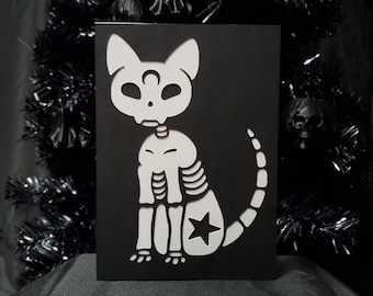 Bone Kitty Greeting Card || Holiday Goth Occasion Dark Love Cursed Occult Skelton Moon Cat Halloween Card