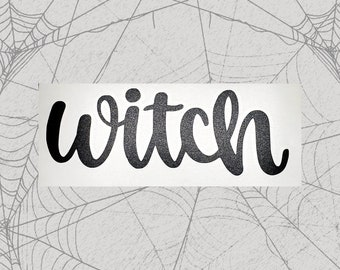 Witch Permanent Vinyl Decal || Gothic Home Decor Halloween Decoration Witch Pentagram Car Accessories Bumper Sticker