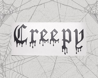 Creepy Permanent Vinyl Decal || Gothic Home Decor Halloween Decoration Witch Pentagram Car Accessories Bumper Sticker