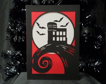 St John's Cabot Tower Greeting Card || Holiday Goth Occasion Dark Love Cursed Occult Colony of Bats Full Moon Signal Hill Halloween Card
