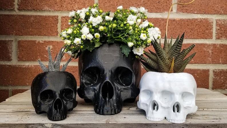 Large Skull Planter  goth gothic garden accessories image 1