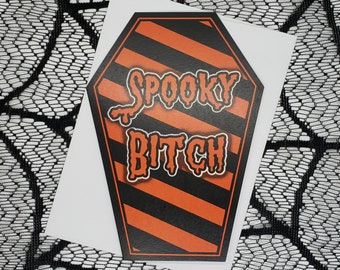 Spooky Bitch Coffin Greeting Card    Wedding, Engagement, Anniversary, Birthday, Goth, Gothic, Love Coffin Card