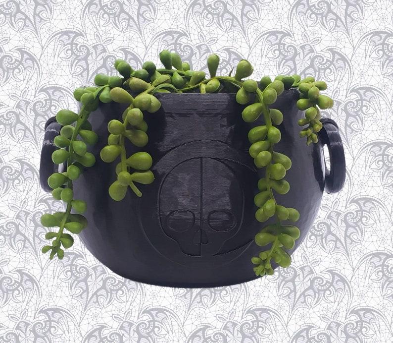 Cauldron Planter  Witchy Home Decor Goth Garden Accessory image 1