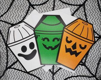 Happy Halloween Buckets coffin greeting card 3 pack    Wedding, Engagement, Anniversary, Birthday, Goth, Gothic, Love Coffin Card