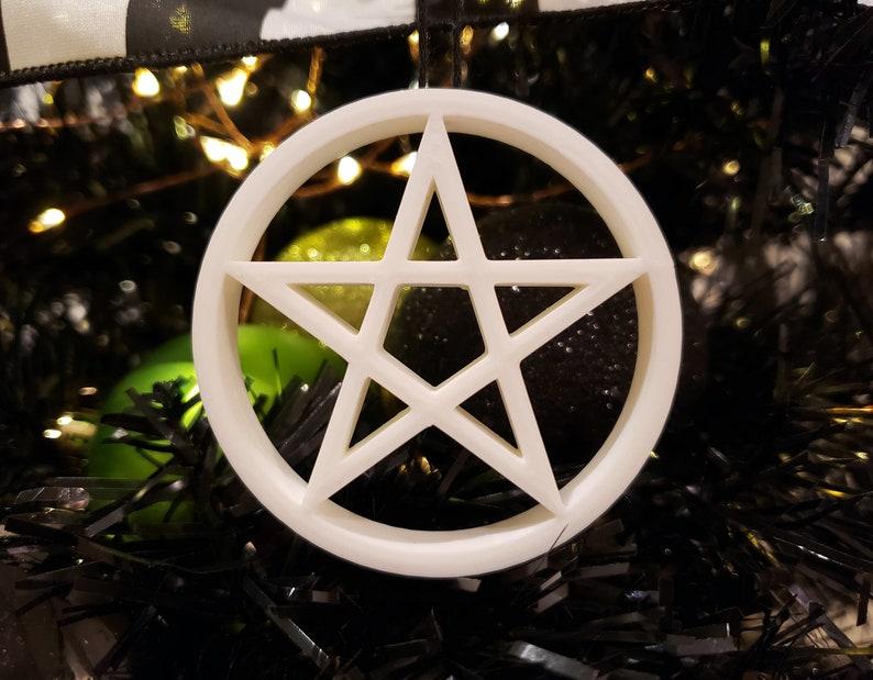 Choose your Star/Heart Pentagram Tree Ornament  gothic Pentagram