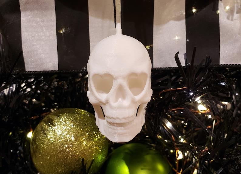 Heart Eyed Skull Tree Ornament  gothic holiday decoration image 0