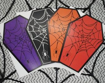 Cobweb Heart Coffin Greeting Card    Wedding, Engagement, Anniversary, Birthday, Goth, Gothic, Love Coffin Card