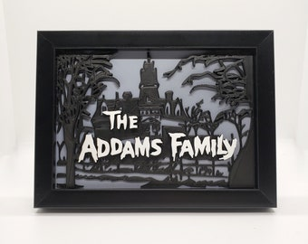 Addams Family Framed 3D printed 5X7 Art    gothic home decor halloween accessory goth macabre witch gallery wall    3D printed