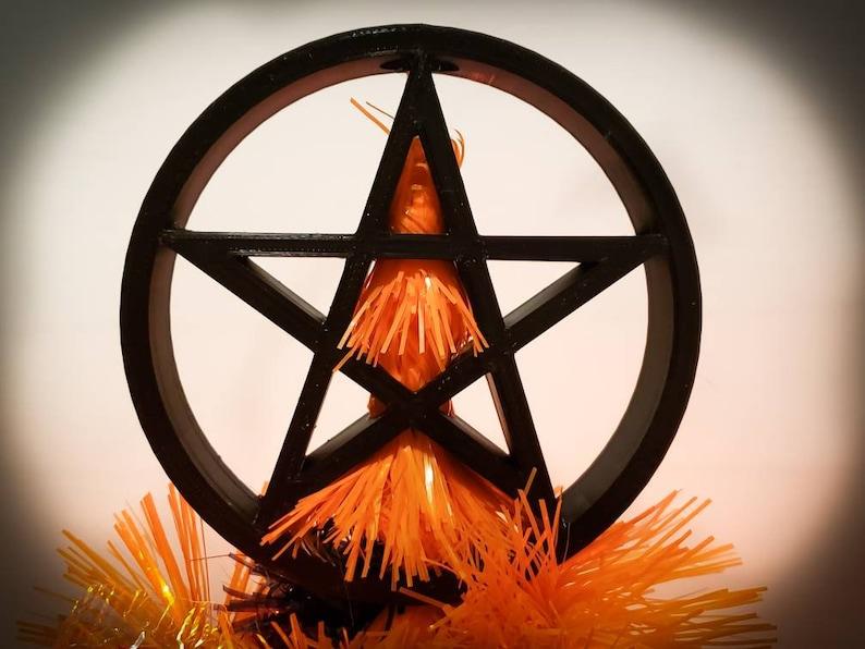 Pentagram Tree Topper Pentacle Reversible  goth gothic image 0