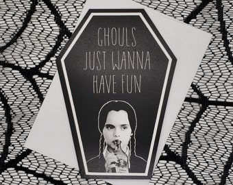 Ghouls Just Wanna Have Fun Coffin Greeting Card    Wedding, Engagement, Anniversary, Birthday, Goth, Gothic, Love Coffin Card