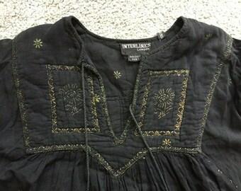 14f03102540 Interlinks London black and gold Indian vintage gauze dress