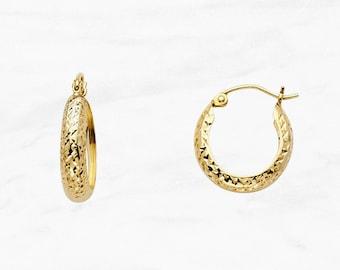 14k Yellow Gold Diamond-Cut Moon Shape Hollow Earrings 22mm