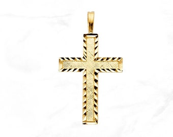 14K Yellow Gold Cross//Cut out and High Polish with Pointed Tips