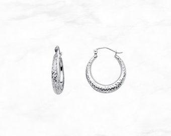 9b1da01b6 14K White Gold Moon Hoops • Diamond Cut Hoop Earrings • White Gold Hoop  Earrings • Small Moon Shaped Hoop Earrings • Graduation Gift
