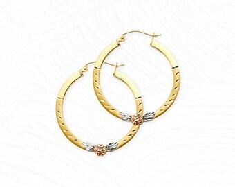 95142ed38 14K Tri-Color Flower Hoop Earrings • Real Tri-Gold Hoops • Flower Rose Hoops  • Medium Square Hoop Earrings • Mother's Day Gift