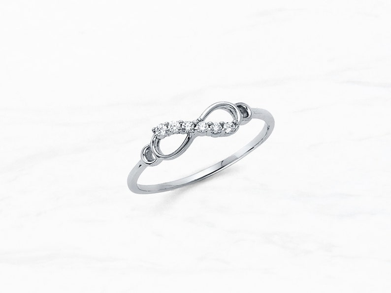 14K White Gold Infinity with Gems Promise Ring \u2022 Real 14K White Gold Ring \u2022 Dainty Infinity Ring \u2022 Cubic Zirconia Gems