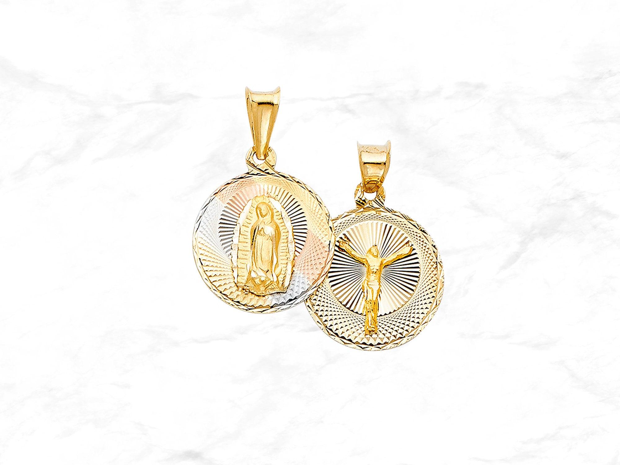 "2 sided 14k yellow gold Jesus virgin Mary pendant charm diamond cut 1.25/"" long"
