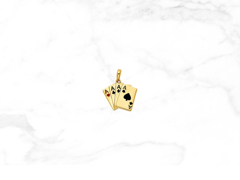 14k Yellow Gold Aces Playing Cards Pendant