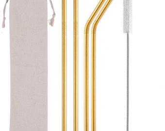 71f19f81df8 6 piece Long Gold Metal Straw of 10.5