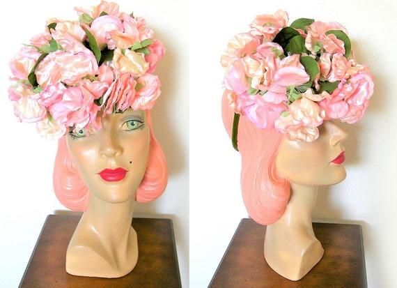 Vintage 1940's Pink Floral Tilt Hat w/Chignon Ring