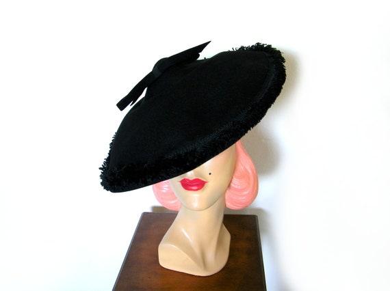 Vintage 1940's Black Wide Brim Platter Tilt Hat~