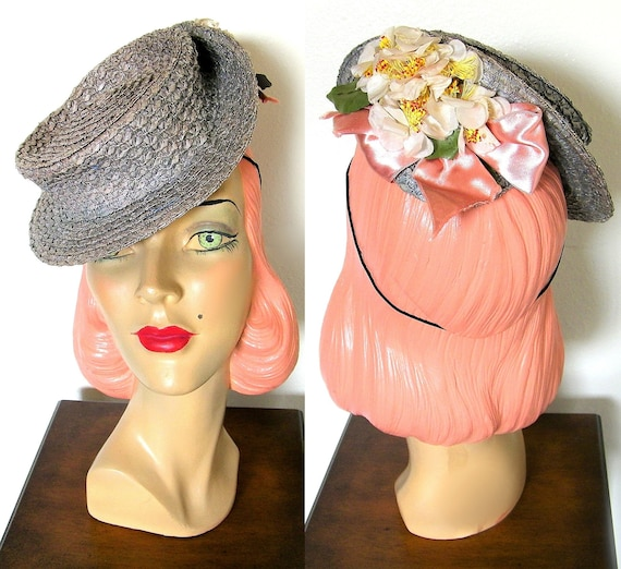 Vintage 1940's Silver/ Blue Straw Percher Tilt Hat