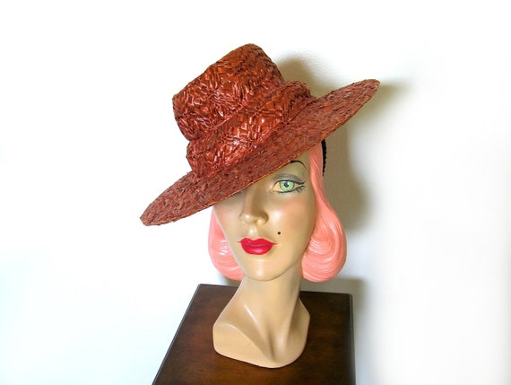 Vintage 1930's/40's Copper Straw Tilt Hat~