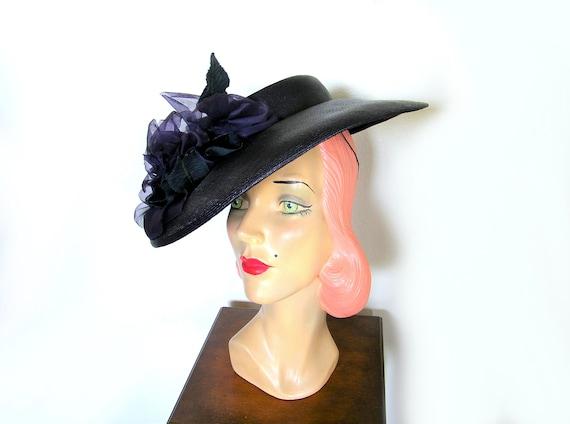 Vintage 1940's Wide Brim Tilt Hat~ - image 4