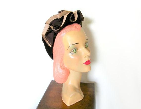 Vintage 1940's Dark Brown Ruffle Fascinator Hat~