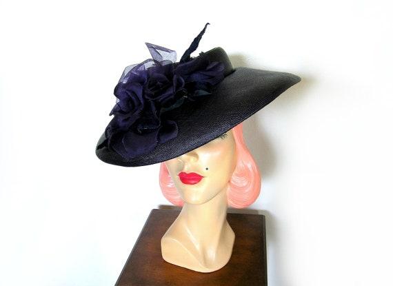 Vintage 1940's Wide Brim Tilt Hat~