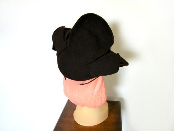 Vintage 1940's Dark Brown Tilt Hat ~ - image 5