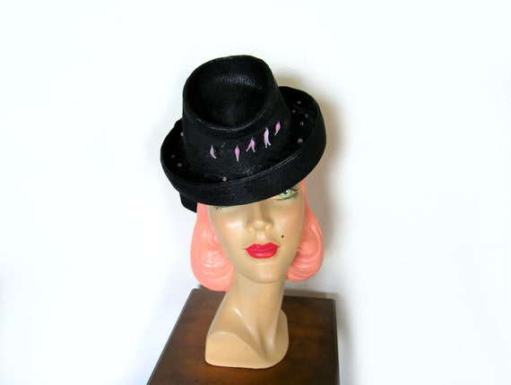 Vintage 1940's Black Straw Toy Tilt Hat~