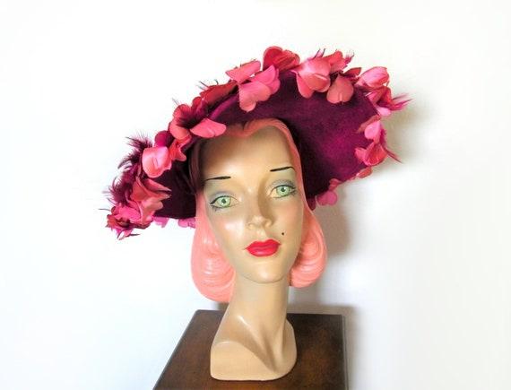 Vintage 1960's Fuchsia Floral Platter Hat~