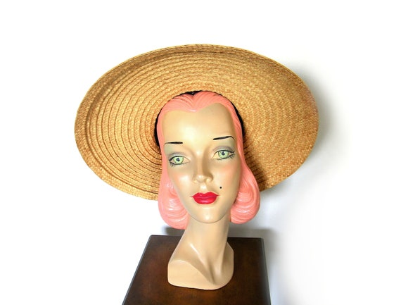 Vintage 1940's Wide Brim Open Crown Cartwheel Hat~