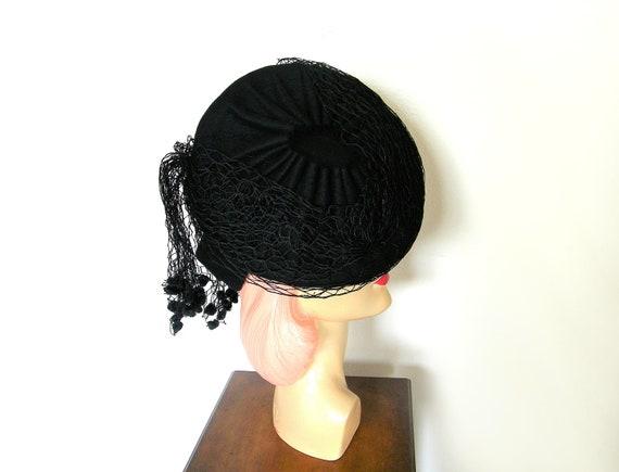 Vintage 1940's Black Asymmetrical Tilt Hat~