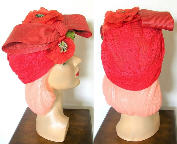 Vintage 1940s Red Straw Floral Turban/ Skull Cap~