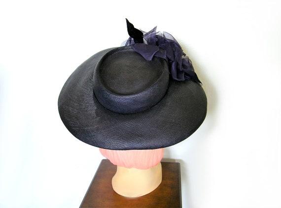 Vintage 1940's Wide Brim Tilt Hat~ - image 5
