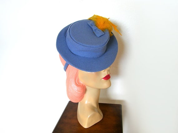 Vintage 1940's Periwinkle Blue Toy Tilt Hat~