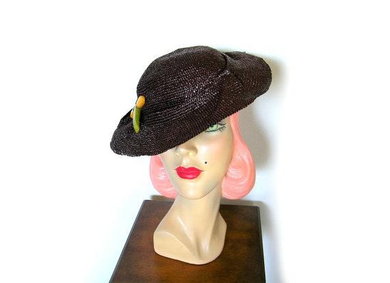 Vintage 1930's Brown Straw Tilt Hat~